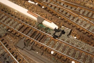 Gleissperre geschottert