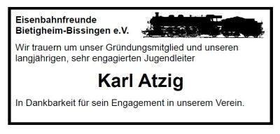 Traueranzeige Karl Atzig